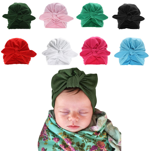 Fashion Baby Rabbit Ear Hat Winter Newborn Cute Baby Turban Hat with