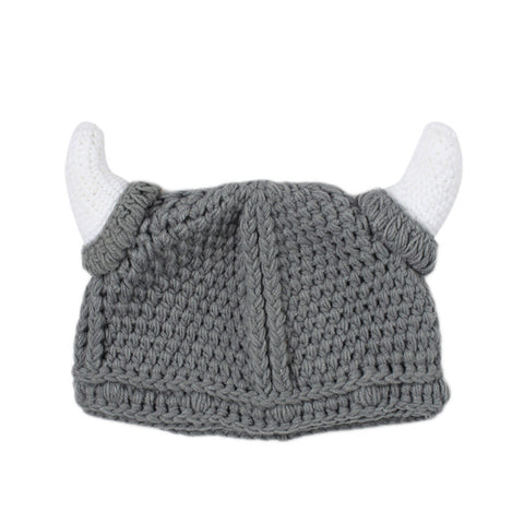 1Pcs Cute Spring/Autumn Baby Viking Hats Skullies Baby Boy Girls Beanies Ears Hat Knitted Crochet Baby Caps 3-24M Free Shipping