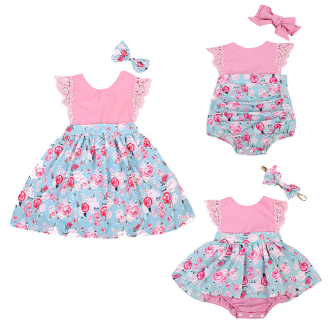Family Matching Sister outfits 2Pcs Baby Girls Kids Floral Outfits Set Floral Princess Dress Lace Romper Skirt Party