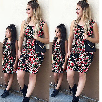 afc923393af19 4 Styles Family Matching Outfits Dress Women Mother Daughter