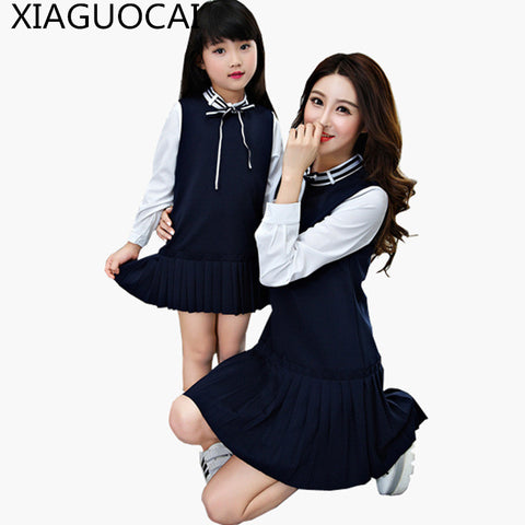 XiaGuoCai 2017 New Family Matching Outfits Mother And Daughter dress Patchwork long sleeve fashion family Girl dresses k236 27