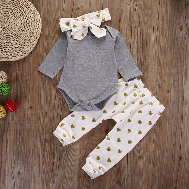 3Pcs Suits Infant Newborn girls clothes Long sleeve Toddle Tops+Pants Love pattern with Headband Baby girl outfit set clothing