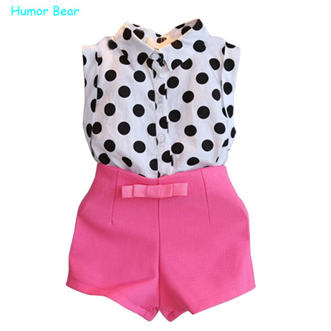 Humor Bear summer style girls clothes polk dot tops+pink pants 2pcs sweet bow baby girls clothing set  kids clothes