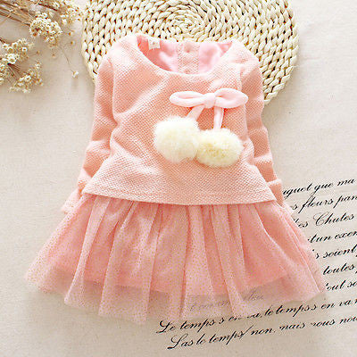 Autumn Winter Baby girl clothes Cute long sleeve Warm girl dress Bow