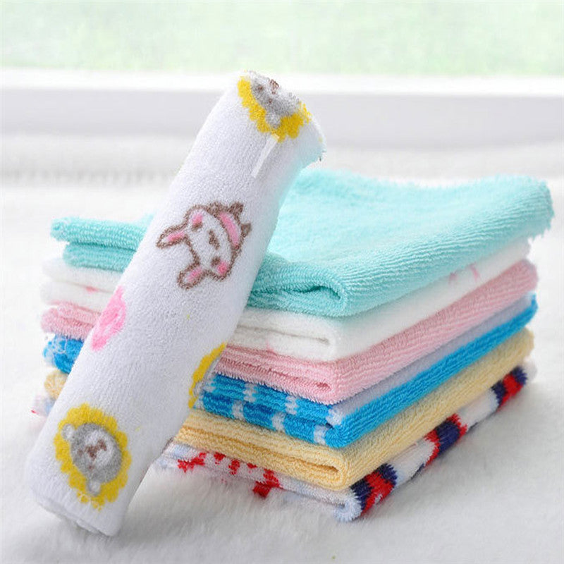 8pcs/lot Single Small Square Soft Cute Baby Towel Handkerchief for