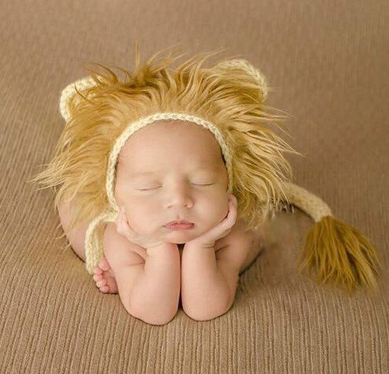 Lion Newborn Photography Hat and Tail Set ,Crochet Infant Baby Cap