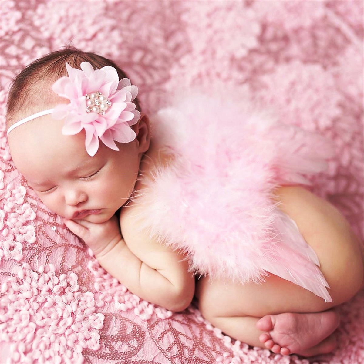 Angel Wings Feather Wings Baby Girl Flower Pearl Headband Photo