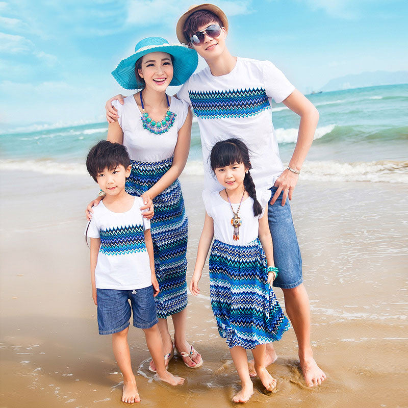 Authentic Mother Daughter Dresses Wave Pattern Family Matching Clothes