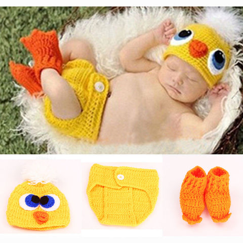 Duck Crochet Knit Baby Hat and Diaper Cover & Shoes Costume Outfit Newborn Photography Props Infant Animal Beanies H081