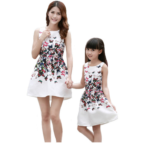 Mother Daughter Dresses Matching Teenage Girl Dress Retro Print Mommy and Me Clothes Sleeveless Dresses Family Matching Outfits