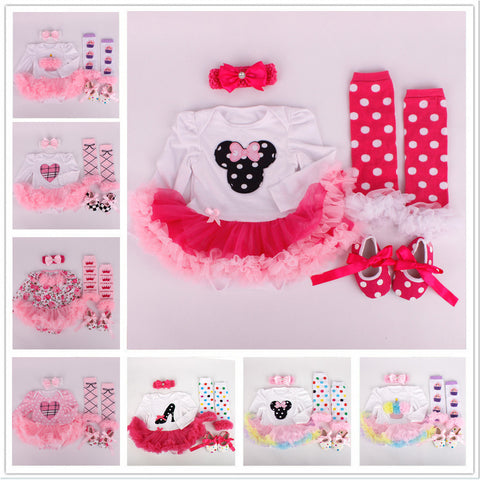 Autumn Baby Romper Sets Floral Cartoon Newborn Tutu Dress Romper +Headband+Leggings+First Walkers 4pcs/set Toddler Clothing Sets