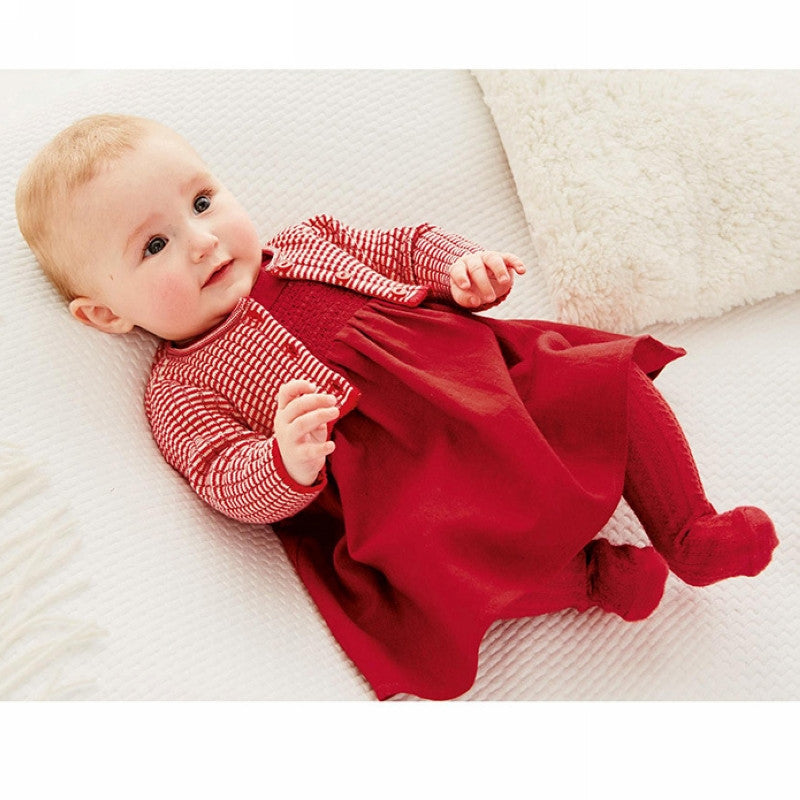 baby girl dress red knitted sweater cardigan + cotton dress set High