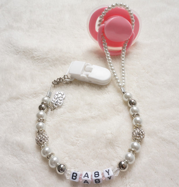 Personalised -Any name Customized Bling rhinestone pacifier clips/