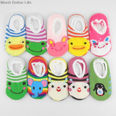 Cartoon Animal Newborn Toddler Baby Child Kids Floor Walking Lace Socks Shoes Anti slip Rubber Sole for Boys Girls 0-12 months