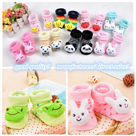 Baby Anti Slip Newborn 0-12 Month Cotton Lovely Cute Shoes Animal Cartoon Slippers Boots Boy Girl Unisex Skid Socks BW01