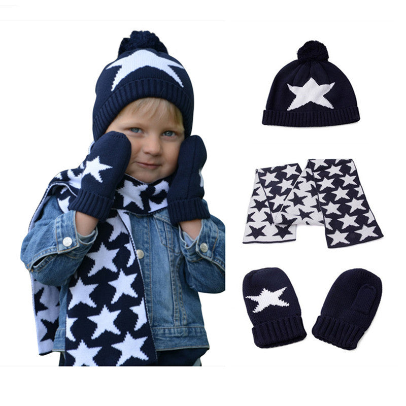boys knitted hat scarf and glove set children new 2016 winter