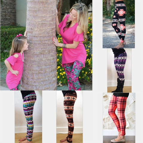 Mother and daughter clothes Mom daughter Halloween Matching pants Print Capris Family Matching Outfits 2017Fashion Girl Leggings