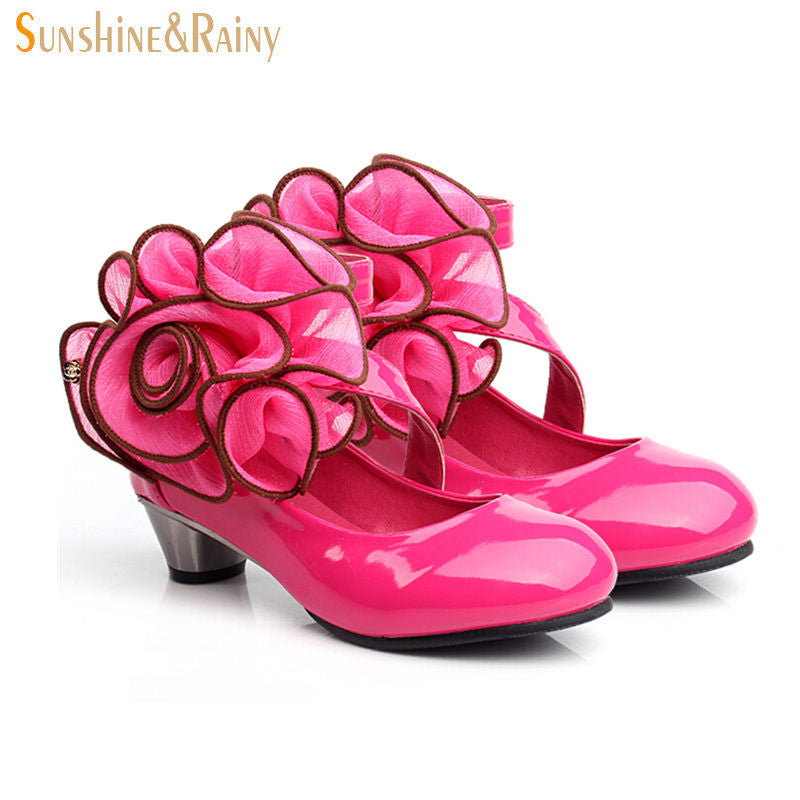 Autumn Girl Sandals Peep Toe Aerobic Shoes Baby Dancing Shoes Big Rose