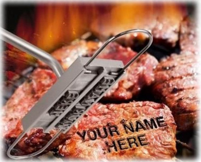 """My Steak"" BBQ Meat Branding Iron With 55 Letters"