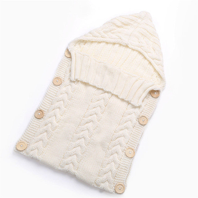 Warm Knitted Swaddle Sleeping Bag For Babies