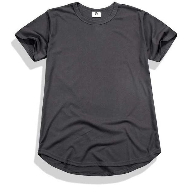 dark grey curved t-shirt