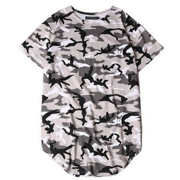 Grey camo curved t-shirt