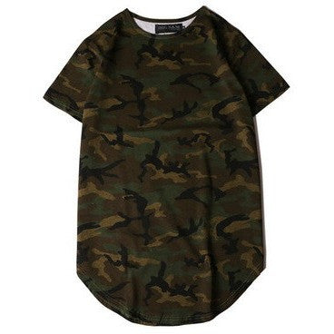 Green camo curved t-shirt