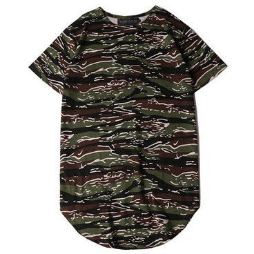 Black and Green camo curved t-shirt