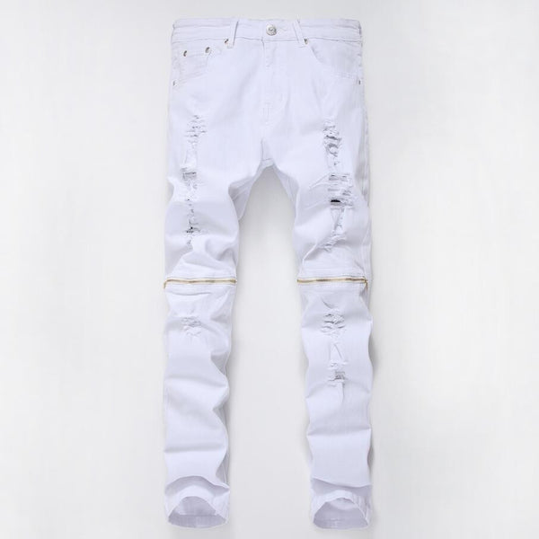 Distressed white zipper jeans