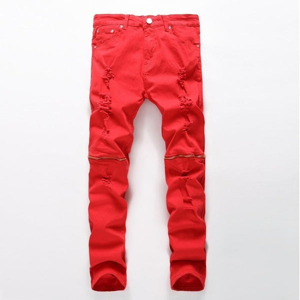 Red distressed zipper jeans