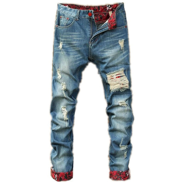 Distressed blue jeans