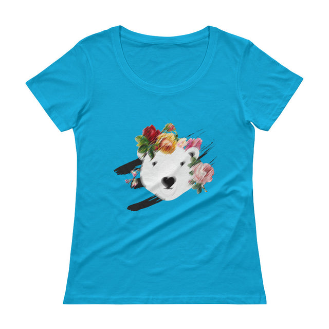 Polar Couture Ladies T-shirt - Flowers - Save Polar Bears