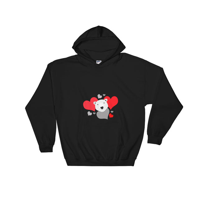 Polar Couture Hooded Sweatshirt - Red Hearts - Save Polar Bears