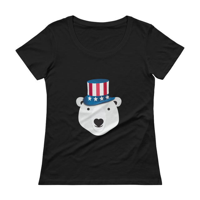 Polar Couture Ladies T-shirt - USA - 4th of July - Save Polar Bears