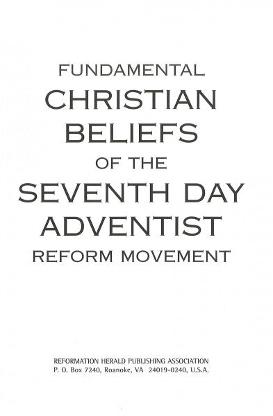 Fundamental Christian Beliefs of the SDARM, Hard cover