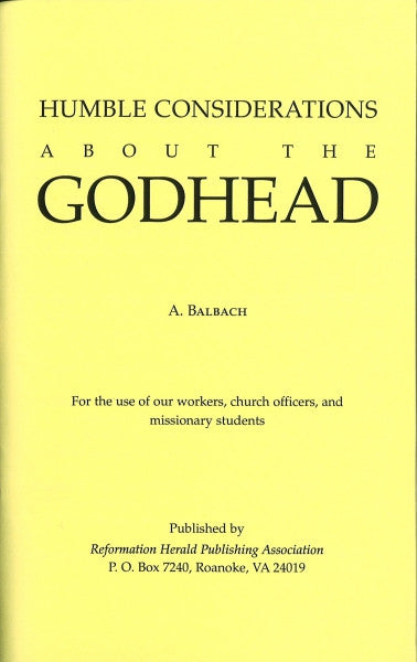 Humble Considerations on the Godhead