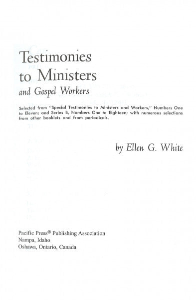 Testimonies to Ministers and Gospel Workers, CHL