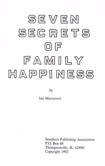 Seven Secrets of Family Happiness