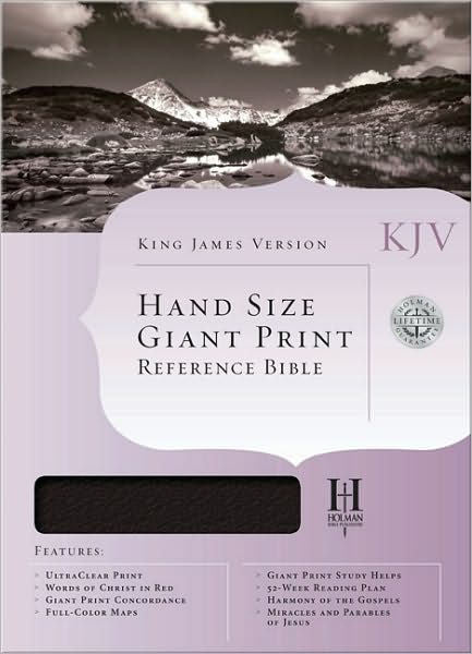 Bible: KJV, Holman, Hand Size, Giant Print, Genuine Leather, Black, Indexed
