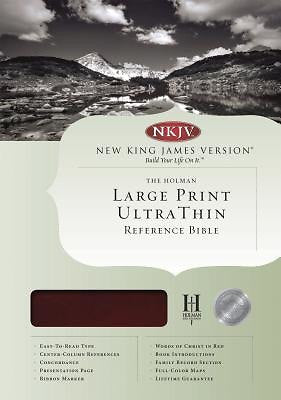 Bible: NKJV, Large Print, Ultra Thin, Genuine Leather, Burgundy, Indexed