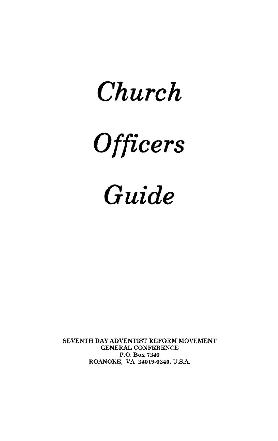 Church Officer's Guide