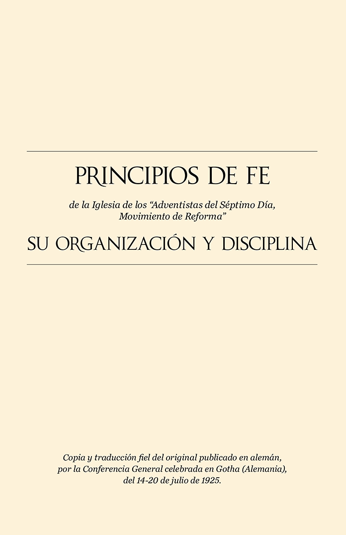 Principles of Faith and Church Order in Spanish