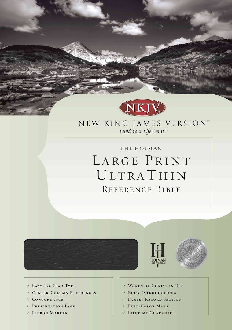 Bible: NKJV, Large Print, Ultra Thin, Genuine Leather, Black, Indexed