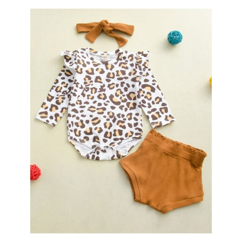 3 Piece Baby Girl Leopard Fall Set
