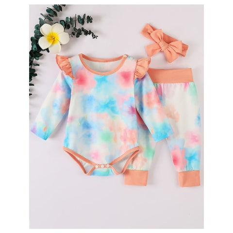3 Piece Fall Tie Dye Baby Set