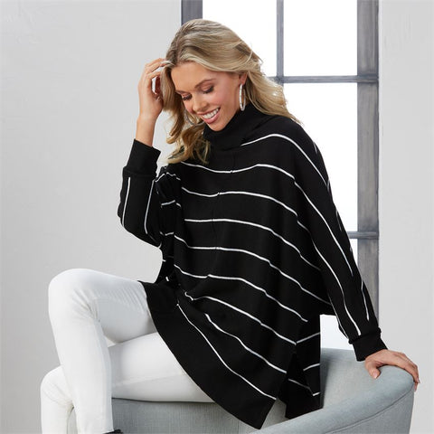 Mud Pie Alina Striped Turtleneck Poncho