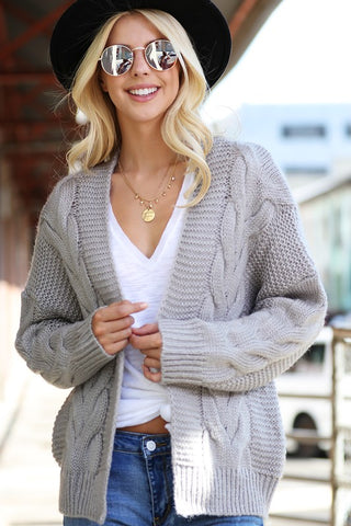 Basic Grey Cable Knit Carigan