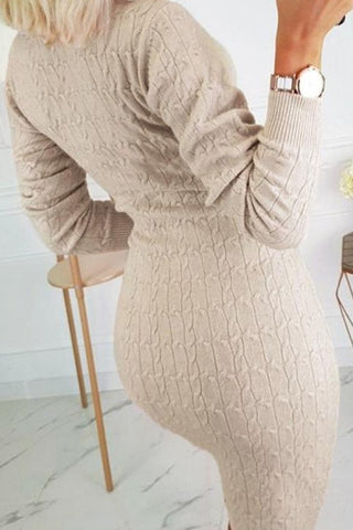 Beige Sweater Dress