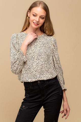 Beige Speckled Blouse