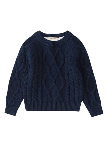 Blue Fleece Lined Knit Sweater